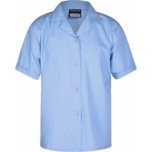 **CLEARANCE** Girls School Uniform Revere Open Collar Short Sleeve Blouse Sky x1