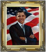 Framed, President Obama, 100% Hand Painted Oil Painting 20x24in