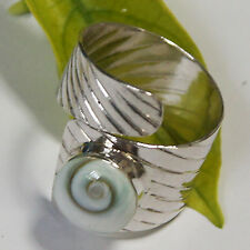 Ring Shell Shiva Eye Circle 925 Sterling Silver Size.6-8 Adjustable Band