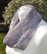 Infinity Scarf in Liberty silk georgette, paisley blue, pink, ivory green multi