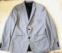 Zara Man 40R blue 2 Button blazer jacket sport coat Notch lapel Lined
