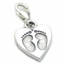 Baby Footprints sterling silver charm - lobster clip .925x 1 Babies CF2484--09LS