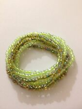 Beautiful 2 tone green glass seed bead stretch bracelets multi strand