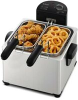 T-Fal Deep Fryer Family-Size Triple-Basket Stainless Steel Adjustable Thermostat