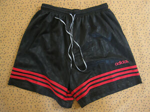 Short Adidas Noir et rouge Rennes 90'S Vintage Ancien Football - 46 / L