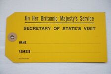 More details for on her britannic majestys service luggage label secetary of state visit yellow