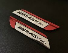 2 X MERCEDES  Benz ///AMG EDITION Side Wing Fender Badge Emblem  New Uk
