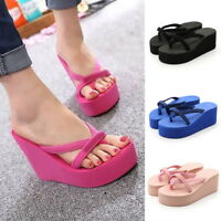 Stock Hot Women Wedge Platform Thong Flip Flops Sandals Beach Slipper Shoes