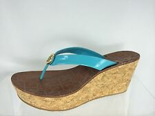 ad2b2054fa6 New ListingTory Burch Women s Blue turquay Patent Leather Wedge With Gold  Logo Shoes 9.5