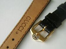 LADIES NEW GUCCI 3000 L LEATHER WATCH STRAP & BUCKLE  BLACK CROC SLIGHTLY PADDED