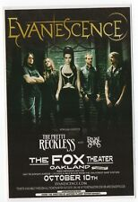 Very Nice Mint Original '11 Evanescence Oakland, Ca Fox Theatre Concert Handbill
