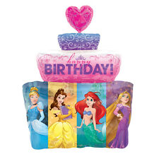 "Giant 28""x21"" DISNEY PRINCESS Birthday Cake Foil Helium BALLOON Party Decoration"