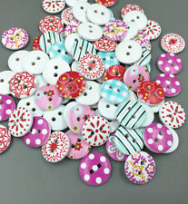 50X Mixed color Wooden Buttons 2-holes Sewing scrapbooking Dress Accessories15mm