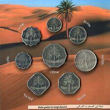 Iraq Circulation 8 Coin Set in Folder 5 Fils to 1 Dinar Saddam Coinage Pre 2003