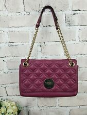Kate Spade New York Quilted Flap Turnlock Geomteric Chain Bag Purse Satchel Plum