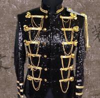 Mens Sequins Gold Bling Suit Blazer Military Bar Coat Jacket Dress Formal
