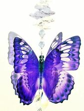 🌈jllAU💜BLUE BUTTERFLY CRYSTAL SUNCATCHER window hanging rainbow prism gift