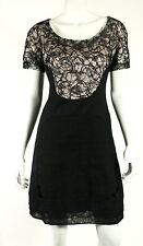 ROCHAS Black Lace Overlay Silver & Lilac Lurex Cocktail Dress 40
