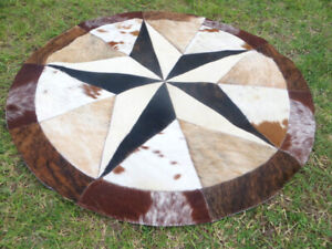 BIG  Star Cowhide Rug Cow Hide Skin Carpet Leather Round patchwork S95 area 40""