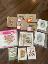 Lot Of Cross Stitch Needlepoint And Weaving Kits And More, Vintage