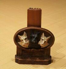 Mid-century Faux Wood 'Scottie Dog Trio' Clothing Brush Holder