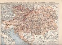 c. 1890 RAILROADS OVERVIEW MAP MAP AUSTRIA HUNGARY Empire Antique Map