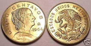 MEXICO 1964 5 CENTAVOS~WHITE JOSEFA~BRILLIANT UNC FR/SH