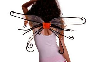 Womens Adult Halloween Costume Spider Fairy Pixie Wings Orange Black Pink NEW