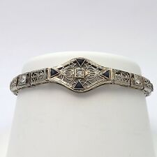 "Art Deco 14k White Gold .30ctw Diamond Sapphire Bracelet Sz 6.75"""