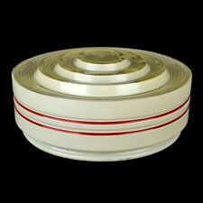 Vintage White Clear & Red Striped Tiered Drum Glass Ceiling Light Shade