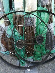 Pair Antique wrought iron Cart Wheels