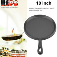 Pre-seasoned Cast Iron 10 Inch Crepe Pan Pancake Skillet Non-Stick Frying Pan US