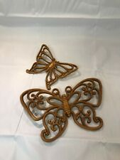 Vintage 2 piece Home Interior Syroco Butterflies look of bamboo wall decor