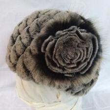 Gray/Black Rabbit Fur Beanie Hat with flower design