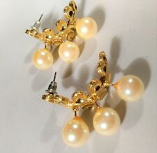 Unique Weird Earrings Gold Tone Faux Pearls Elevated Statement Dangle Wedding