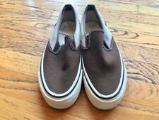 Vintage NIB Two Tone Brown Slip On Canvas Vans Shoes Sz 6.5 USA Made AUTHENTIC!!
