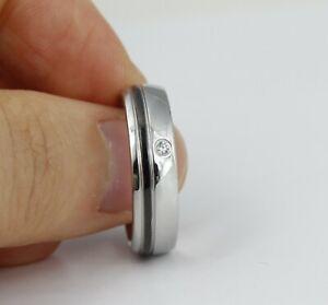 Classic Fashion Men/Women Cubic Zircon Silver Titanium Stainless Steel Ring 9-12