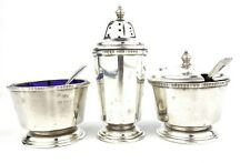 Early 20th C. Mappin & Webb Sterling Silver Condiment Cruet Set 5 Pcs 1929