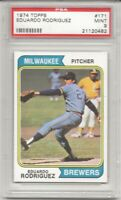 SET BREAK - 1974 TOPPS # 171 EDUARDO RODRIGUEZ, PSA 9 MINT, BREWERS, L@@K