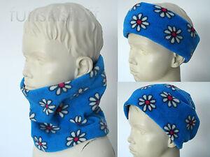 Infant FLEECE NECK WARMER scarf snood girls kids baby DAISY BLUE FLOWER toddler