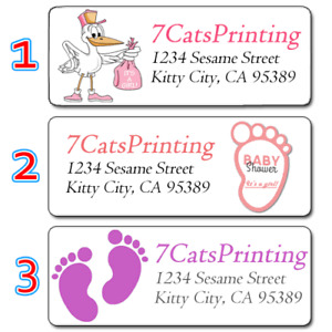 30 Girl Baby Shower Return Address Labels Pink Stork Feet