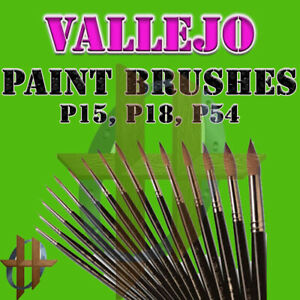 Vallejo Individual Brushes P15, P18, P54 Line of Brushes Free Shipping at $35