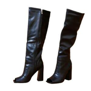 Women's Gladiator Peep Toe 10cm High Heel Knee High Knight Boots Outdoor Party L