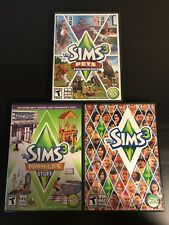 The Sims 3 Plus Pets Expansion pack & Town Life Stuff Lot of 3 PC