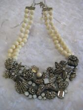 "HEIDI DAUS ""Seashore Chic"" (Golden Shadow) 16"" L.Bib Drop Necklace(Orig.$369.95)"