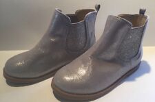 Gymboree 11 Silver Metallic Booties Boots Holiday NWOT