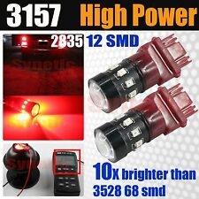 2x 3157 High Power 2835 LED Chip 235Lumen Bright Red Brake Tail Stop Light Bulbs