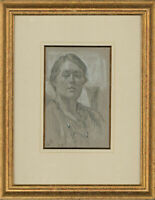 J.B - Signed & Framed 20th Century Graphite Drawing, Study of a Woman