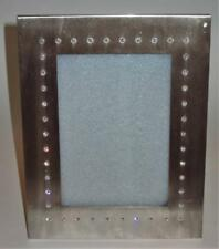 "TIZO Brushed Aluminum Picture Frame Clear Crystals Jeweled, 5"" x 7"" Photo"