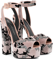 $750 New GIUSEPPE ZANOTTI BETTY SANDAL SHOES PINK VELVET GLITTER PLATFORM 38 7.5